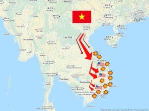 Karte der Tet-Offensive von General Giap und den Viet Cong