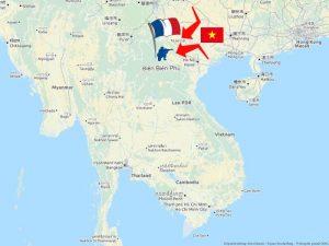Karte von der Schlacht von Dien Bien Phu mit Vo Nguyen Giap im Indochinakrieg