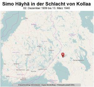 Karte der Gegend der Schlacht von Kollaa, wo Simo Häyhä kämpfte.
