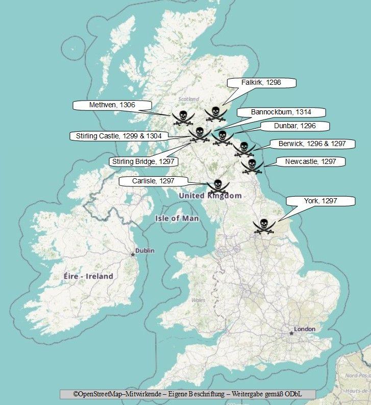 Erster Schottischer Unabhängigkeitskrieg Karte