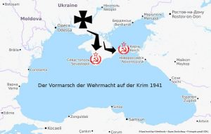 Karte von Angriff der Wehrmacht auf der Krim 1941 gegen Sewastopol unter Erich von Manstein