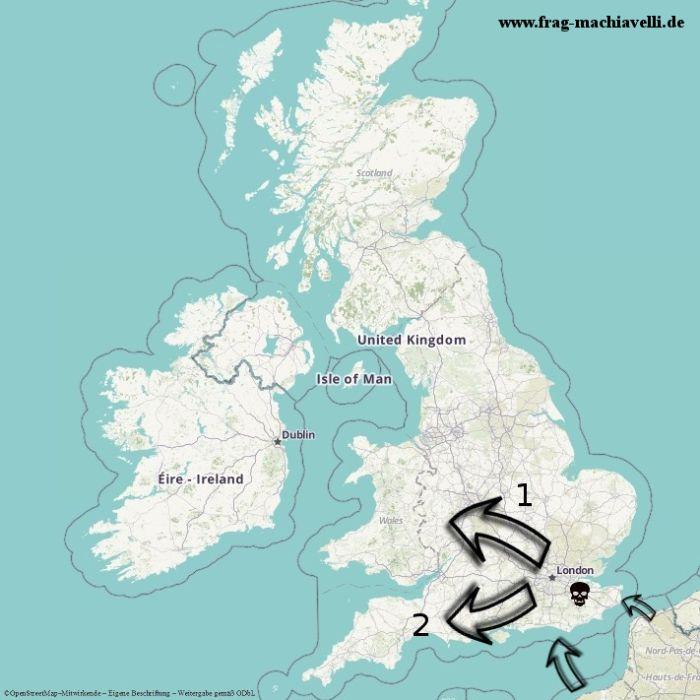Karte der römischen Eroberung Britanniens