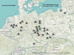 Eine Karte der Schlachten des Siebenjährigen Krieges mit Friedrich dem Großen
