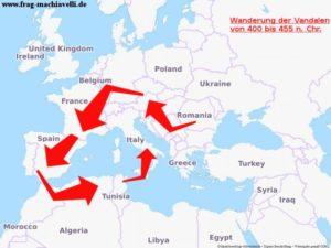 Karte der Wanderung der Vandalen von 400 bis 455 n. Chr.
