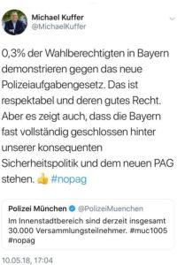 Tweet von Michael Kuffer, CSU-Mitglied und MdB, als neuzeitliches Beispiel für Ochlokratie