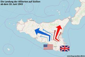 Karte der Operation Husky - die Landung der Alliierten auf Sizilien