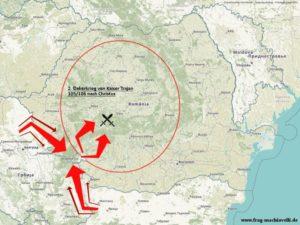 Karte vom Angriff von Kaiser Trajan im Dakerkrieg über die Trajansbrücke