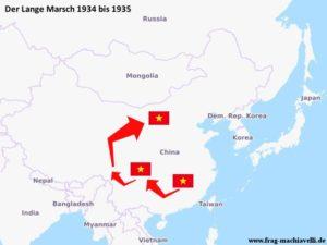 Karte des Langen Marsches der Kommunisten