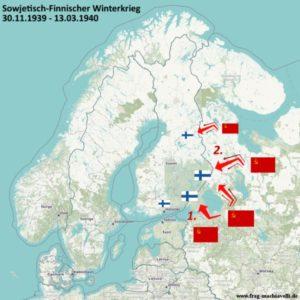 Karte des Sowjetisch-Finnischen Winterkrieges von 30. November 1939 bis zum 13. März 1940
