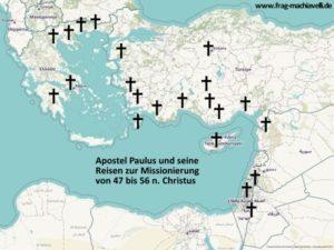 Karte der Orte an denen der Apostel Paulus von 46 bis 57 n. Christus missionierte.