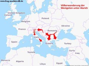 Alarich I, führte die Westgoten von Rumänien bis nach Italien.