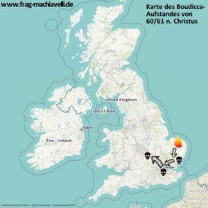 Karte des Aufstandes von Königin Boudicca im Osten Britanniens
