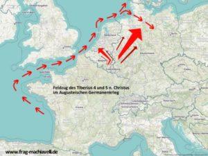 Karte des Feldzuges von Tiberius im Augusteischen Germanenkrieg