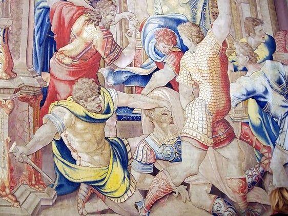 Die Verschwörer um Marcus Iunius Brutus ermorden Cäsar im Senat (Foto einer Wandmalerei im Vatikan / pixabay)