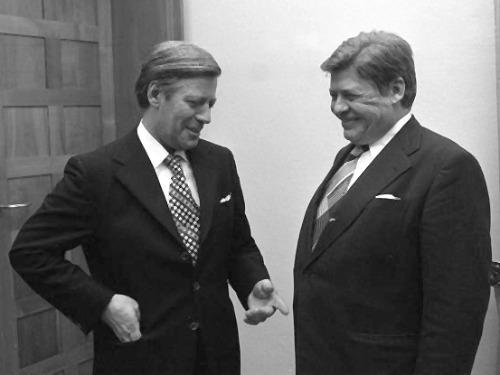 Helmut Schmidt im Gespräch mit Hanns Martin Schleyer