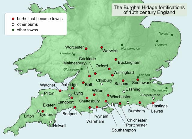 Karte angelsächsischer Burgen