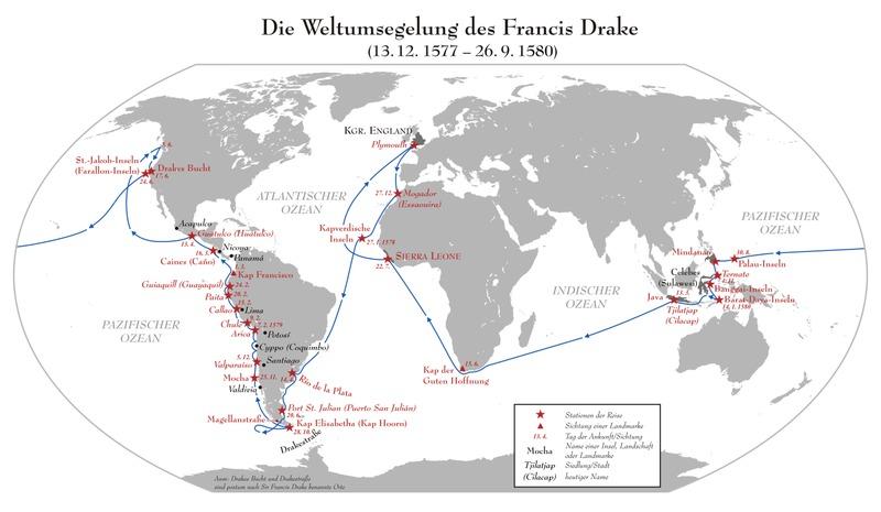 Karte der Weltumsegelung von Francis Drake