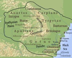 Karte Dakiens 82 n. Christus