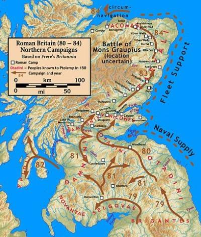 Kaiser Domitians Eroberungen in Britannien Karte