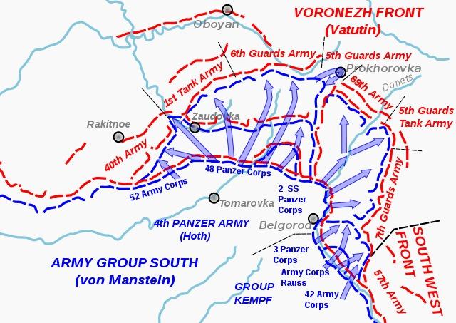 Karte deutscher Angriff südlich von Kursk