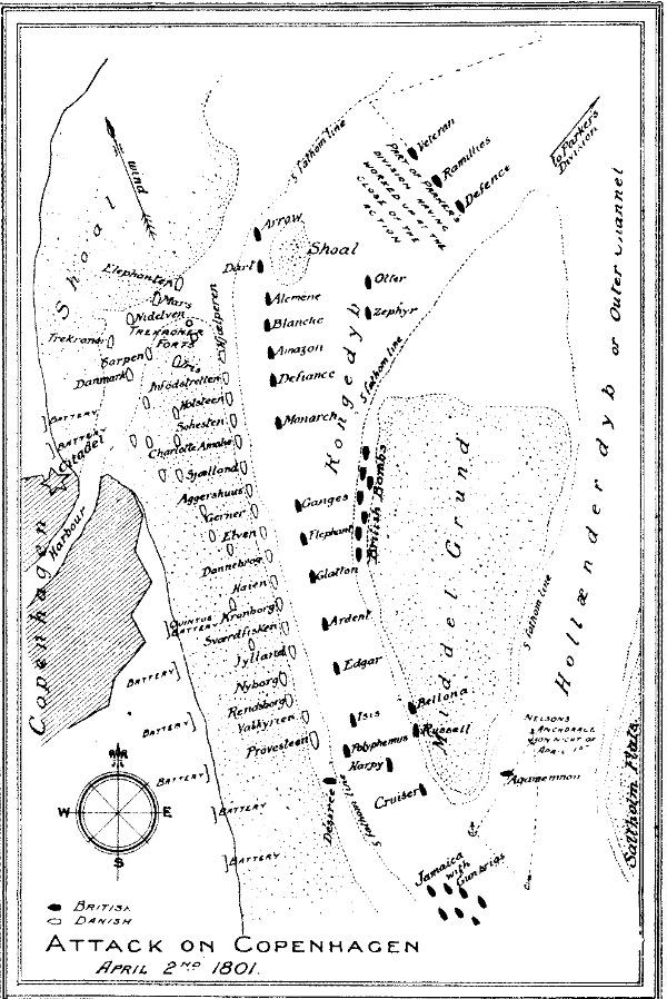 Karte der Schlacht bei Kopenhagen