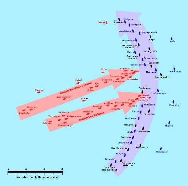 Karte Seeschlacht von Trafalgar 1805