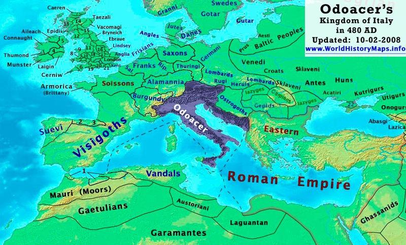 Karte von Odoakers Königreich Italien um 480