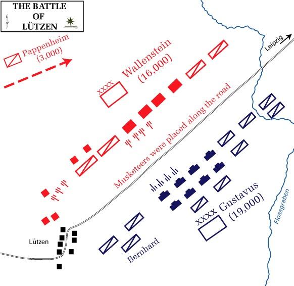 Karte der Schlacht von Lützen