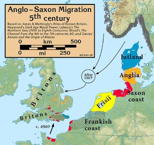 Völkerwanderung Angelsachsen Karte