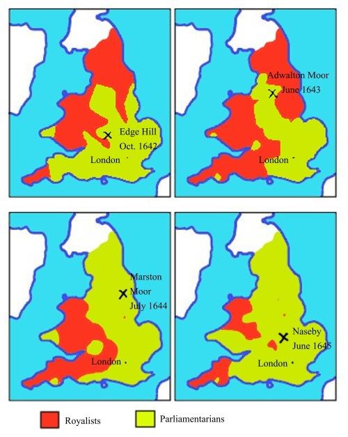 Karte englischer Bürgerkrieg