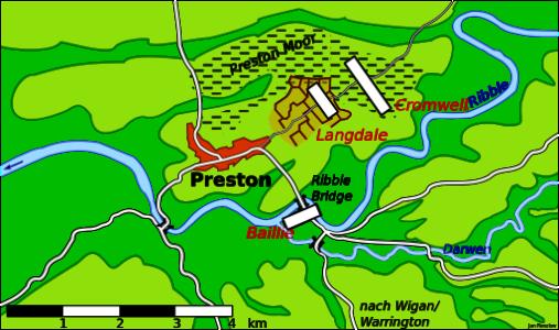 Schlacht bei Preston Karte