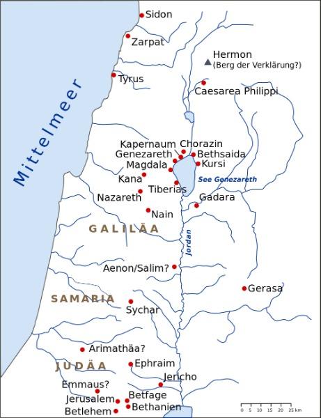 Karte Reisen Jesus