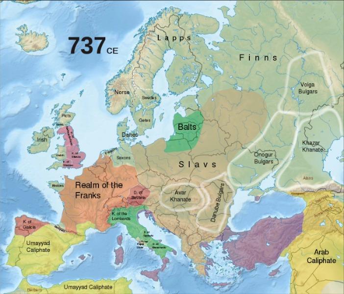 Karte Frankenreich um 737