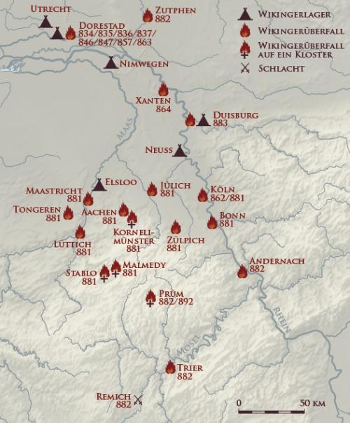Karte Raubzüge Wikinger Frankenreich