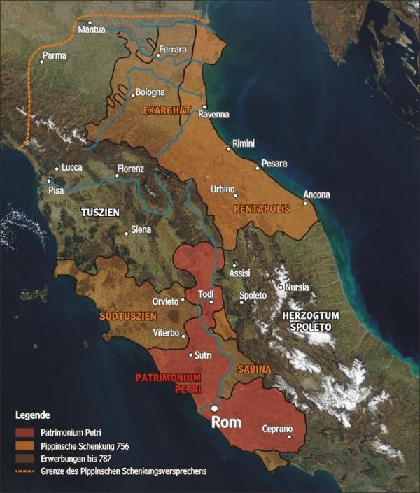 Pippinische Schenkung Kirchenstaat Karte