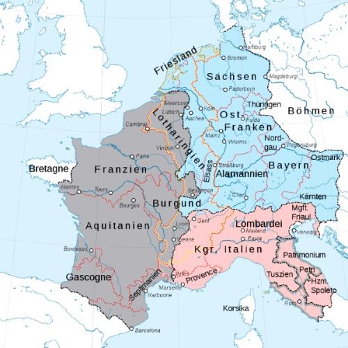 Vertrag von Meerssen Karte