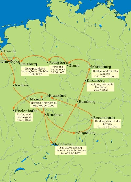 König Heinrich II. Umritt Karte