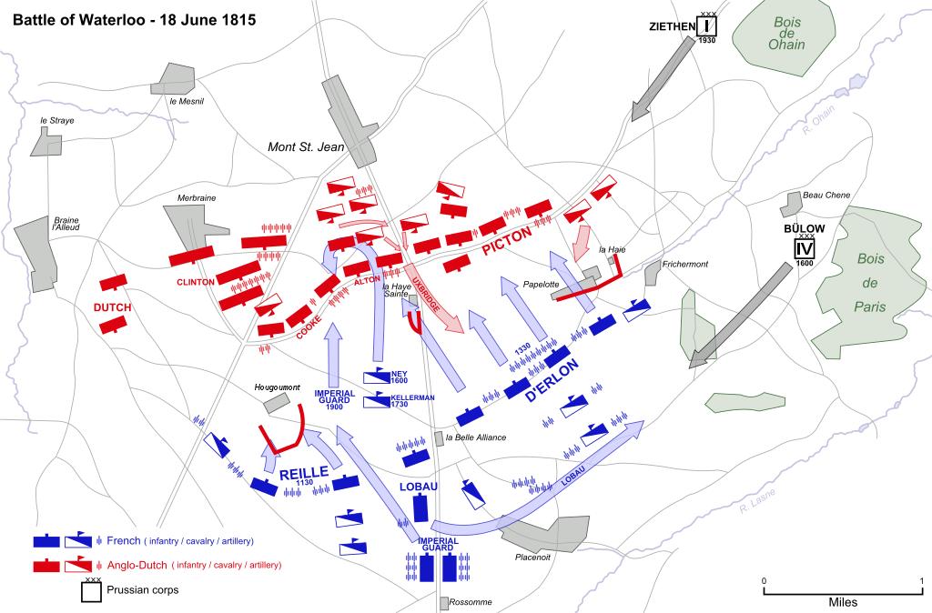 Schlacht bei Waterloo Hauptgefecht Karte