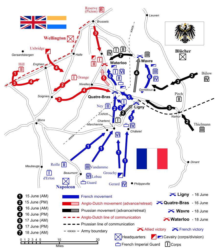 Schlacht bei Waterloo Vorgefechte Karte