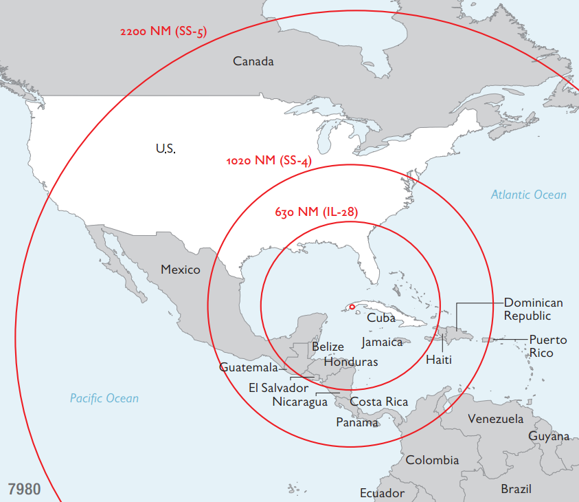 Karte der Reichweite von sowjetischen Mittelstreckenraketen